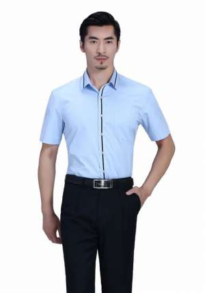 蓝色领边门襟短袖黑条配色衬衫
